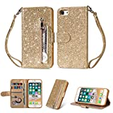Coque iphone 7, iphone 8 Housse en Cuir LaVibe PU Leather Etui Portefeuille à Rabat Glitter Clapet Support Fermeture éclair Porte Video Stand, Flip Wallet Protective Case Cover–Or