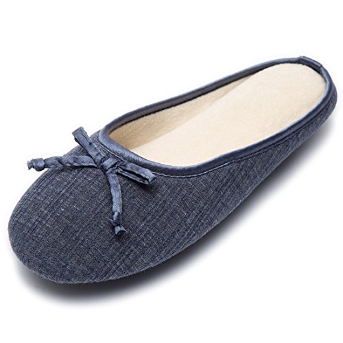 1d1128dd014 Cozy Niche Ladies  Closed Toe Knitted Stripe Memory Foam House Slippers  With Cute Bow