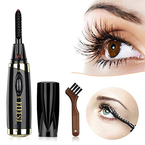 Wimpernzange Elektrisch, BOPAI Mini Beheizter Wimpernzange Tragbare Wimpernzange mit Kamm für Make up Beauty Styling Curling Tools