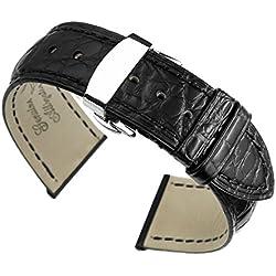 21mm schwarz High-End-Alligatorlederarmbändern / Bands Ersatz für Luxus-Uhren