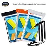 pinlu® 3 Pack IPX8 Wasserdichte Tasche, für Smartphones bis 6 Zoll, für Archos 50 Platinum, Archos 50 Diamond, Archos 50 Helium Plus, sandproof Protective Shell -Schwarz+Weiß+Orange