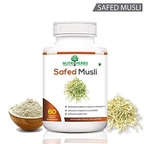 Nutriherbs Safed Musli 800 Mg 60 Capsules 100% Natural & Organic (Pack Of 1)