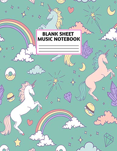 Blank Sheet Music Notebook: Cute Unicorn Matte Cover Design with 110 Pages White Paper Interior for Musician Students and Professionals Playing Piano, ... Musical Instruments Staves (8.5