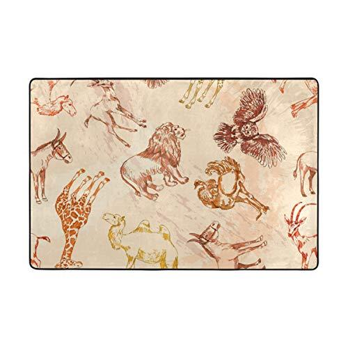 FANTAZIO - Tapis de Zone - Animaux du désert, Girafe, Camel - Chouette - Pince Droite pour Les Coins et Les Bords - Idéal pour la Cuisine/la Salle de Bain, Polyester, 1, 36 x 24 inch