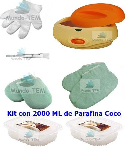 Mundo-TEM ® Chauffe paraffine + kit complet, 2 000 mL paraffine de coco et bref manuel sur le traitement de la paraffine