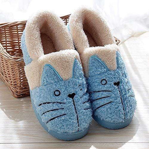 Daxey - Nette Katze warme Stiefel Frauen Familie Weihnachten Cotton Winter-Schuh-Frauen-Stiefel [36 Blau]