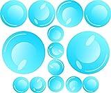 14 Seifenblasen Wand-Sticker I kfz_158 I Ø 3 bis 8 cm I Bad Badezimmer Duschwand Auto-Aufkleber Motorrad Roller Laptop I Blubber-Blasen Bubbles Set