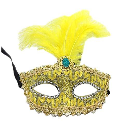 NUOKAI Halloween-Maske Maskerade Prinzessin Feder Maske Spitze Drachen Muster halbe Gesicht Augenbinde weibliche Party Maske, ()