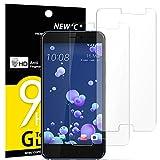 NEW'C Lot de 2, Verre Trempé pour HTC U11, Film Protection écran - Anti Rayures - sans Bulles d'air -Ultra Résistant (0,33mm HD Ultra Transparent) Dureté 9H Glass