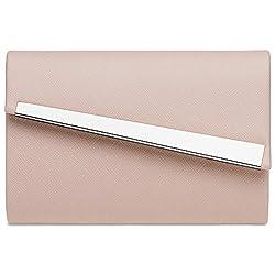 CASPAR TA418 Damen Baguette Clutch Tasche Abendtasche, Größe:One Size, Farbe:rosa