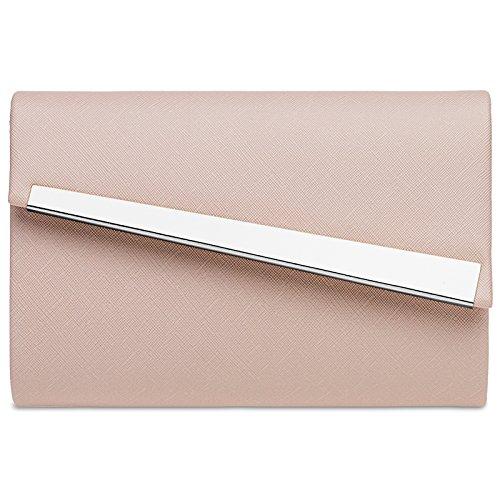 CASPAR TA418 Damen Metallic Baguette Clutch Tasche Abendtasche, Farbe:rosa;Größe:One Size