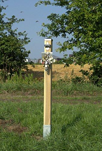 Der Bier-Pfosten! Flaschen-Öffner mit starkem Fang-Neodym-Magnet und Edelstahl-Platte / Wandöffner + Magnetfang an Holzpfosten für Garten / Laube. Mit Erdspieß! -