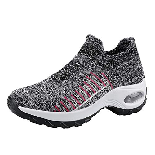Damen Sneaker Wedges Laufschuhe mit Keilabsatz Atmungsaktive Turnschuhe Slip On Strick Sportschuhe Freizeitschuhe Erhöht Einlegesohle Freizeitschuhe (EU:38, Grau)