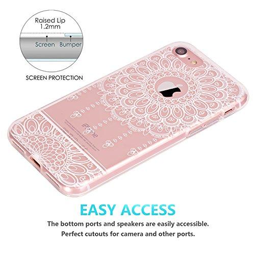 iPhone 7 Hülle, JIAXIUFEN TPU Silikon Schutz Handy Hülle Handytasche HandyHülle Etui Schale Schutzhülle Case Cover für Apple iPhone 7 / iPhone 8 - Rose Flower Floral Line