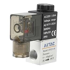 """AC 220V 3.5VA 1/4 """"PT Thread 2 Position 2 voies pneumatique électrique électrovanne"""