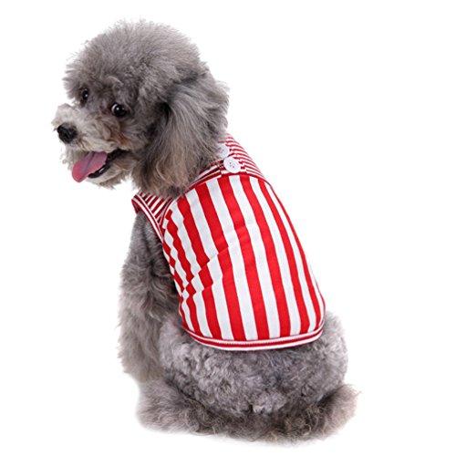 YiJee Haustier Stripe Weste Atmungsaktive ärmellose T-Shirt Kleine Hund Kleidung Rot XL