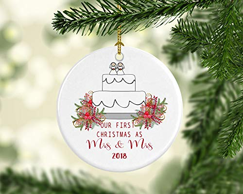 Tiukiu Our First Christmas As Mrs and Mrs Gay Lesbian Married Christmas Ornament Personalized Customized Custom Wedding Newlywed Gift Couple