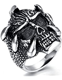 fe589c3993 Beydodo Stainless Steel Rings for Mens Biker Ring Bands 11MM Skull Black  Size P 1/