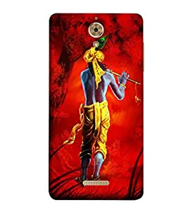 Takkloo Lord krishna ( God of Hindu, red background, lord krishna with flute, Religious, God of Love) Printed Designer Back Case Cover for Coolpad Mega 25D