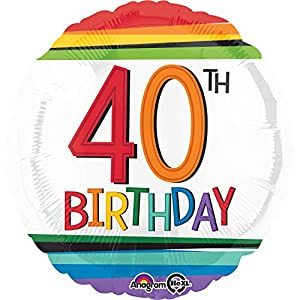 Amscan International 3443501 cumpleaños 40 Globo de lámina, Arco Iris