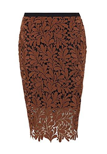 HALLHUBER Bleistiftrock aus Spitze gerade geschnitten cognac, 36