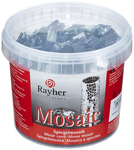Rayher Mirror Mosaic Stones 1,5x1,5cm, Art and Craft Tiles, Bucket 1kg with 660pcs