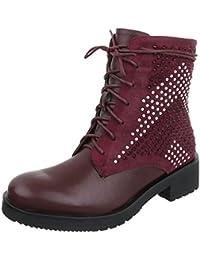 Amazon Rojo es Zapatos Y Para Mujer Botas Cordón nRxOwrqan