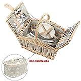 Clictrade Picknickkorb mit Kühltasche, grau-weiß mit Schriftzug, Picknick-Set für 2 Personen, 15 Teile
