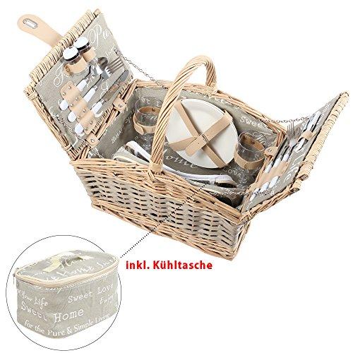 Picknickkorb mit Kühltasche, grau-weiß mit Schriftzug, Picknick-Set für 2 Personen, 15 Teile