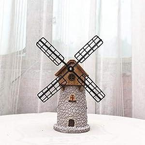 WFSDKN Dekoration Europe Vintage Windmühle Modell Ornament Harz Sparschwein Spieluhr Niederländische Windmühle Wohnaccessoires Geschenkartikel, Weiß