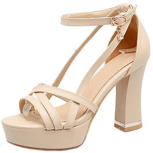 COOLCEPT Damen Mode Knochelriemchen Sandalen Peep Toe Plateau Blockabsatz Schuhe Beige