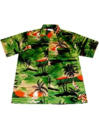 """Chemise Hawaienne Homme """"Night on Hawaii"""" 100% coton, taille M – 6XL, vert"""