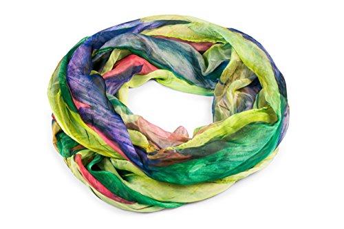 FashionCHIMP Loop Schlauchschal für Damen mit Feder-Muster in Batik Style, Crash and Crinkle, Seide, Schal (Grün-Bunt) (Seide Grün Schal)