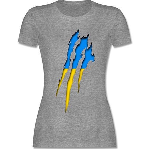 Shirtracer Länder - Ukraine Krallenspuren - Damen T-Shirt Rundhals Grau Meliert