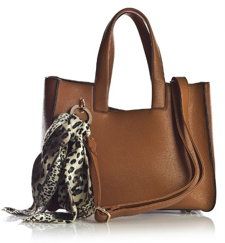 Big Handbag Shop - Borsa a tracolla donna Marrone (Cammello medio)