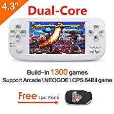 CZT Dual-core 4.3 inch screen 64Bit Handheld Game Console Portable Game Console build in 1300 no-repeat game for NEOGEO\CPS\GBA\GBC\GB\SFC\FC\MD\GG\SMS MP3/4 camera (White)