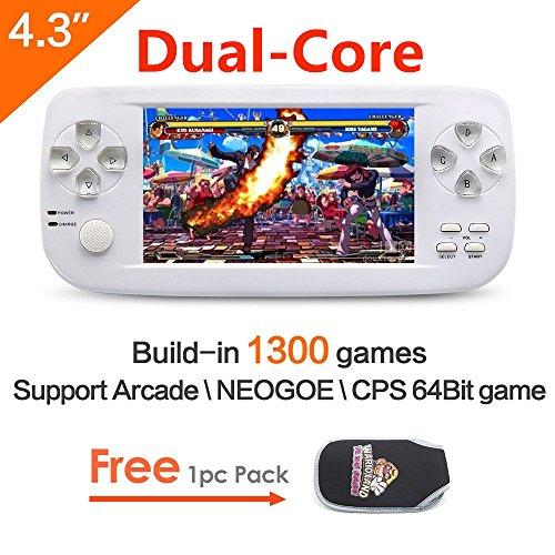 CZT 4.3 pulgadas de la pantalla 64Bit consola de juegos de mano consola de juegos portátil construir en 1300 no repetir juego para NEOGEO\CPS\GBA\GBC\GB\SFC\FC\MD\GG\SMS MP3/4 cámara (CZT 4.3 pulgadas de la pantalla 64Bit Consola de juegos portátil consol