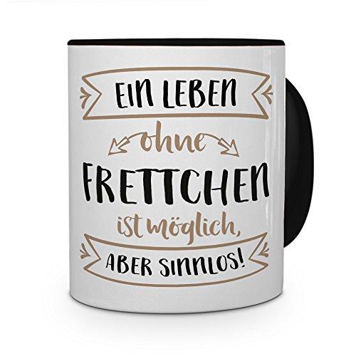 PrintPlanet® Tasse mit Aufdruck Frettchen - Motiv Sinnlos - Namenstasse, Kaffeebecher, Mug, Becher, Kaffeetasse - Farbe Schwarz