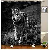 LMXYF Duschvorhang Tier Forrest Wolf Muster 3D Print Vorhänge Für Bad Wasserdichtes Gewebe Bad Vorhang