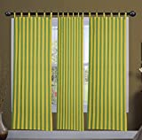 Green and Yellow Strip Window curtains s...