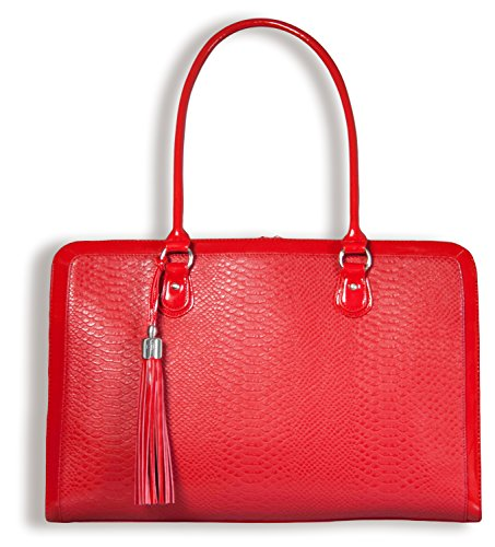 BfB Laptoptasche für Frauen - Handgefertigte Designer Aktentasche, Messenger Tasche 17 Zoll Computertasche – Rot - by My Best Friend Is A Bag (Damen Aktentasche Rot Leder)