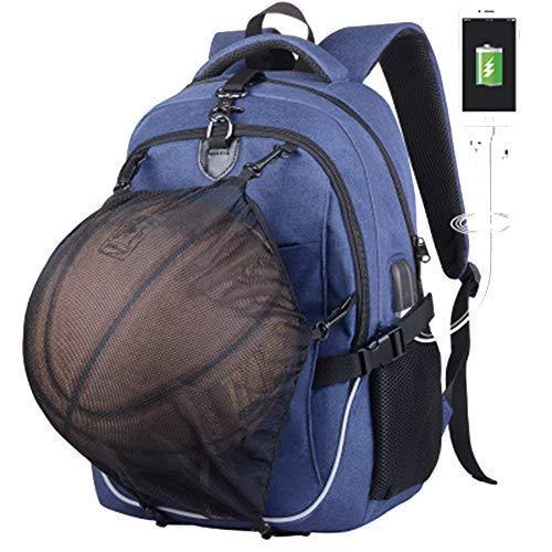 Basketball-Rucksack mit USB-Aufladung, wasserdicht, 39,6 cm (15,6 Zoll) Laptop, mit Ballnetz, blau