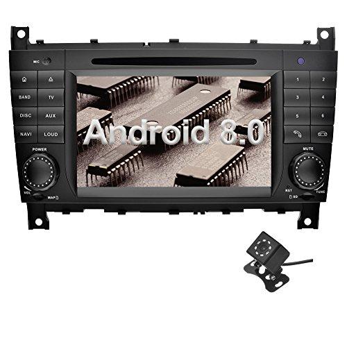 Ohok 7 Zoll Bildschirm 2 Din Autoradio Android 8.0 Oreo Radio mit Navi DVD GPS Navigation Unterstützt Bluetooth WLAN DAB+ für Mercedes-Benz C-Class/CLK mit Klein-Rückfahrkamera - Benz Verstärker Mercedes