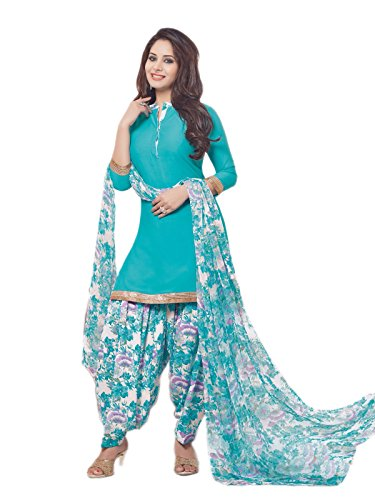 Low Price synthetic Turquoise Sky Blue and White Patiala Suit dress for daily wear in free size (Pshopee presents New Collection latest gowns for women party wear salwar suit for women Patiyala suits for women chudidar material synthetic Latest Wear dresses for party wear gowns for girls party wear latest saree collection 2017 unstitched dress materials with synthetic printed duppatta lace border top kameez for women Churidar Salwar Kameez Anarkali suit navratri special long gowns for girls)  available at amazon for Rs.448