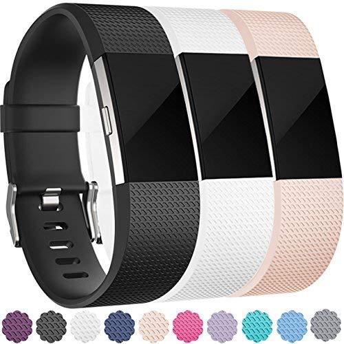 Wepro Fitbit Laden 2Bands, Ersatz Bands für Fitbit Laden 2HR, Air Löcher, 12Farben, große, kleine, Jungen Herren Damen Mädchen, Black/Blush Pink/White