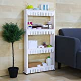 MW MALL India Multipurpose 4 Layer Space Saving Storage Organizer Rack Shelf with Wheels for Kitchen Bathroom Bedroom (54x12x100 cm, White)