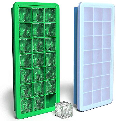 Klare Gehen Zu Kunststoff-container (Silikon Ice Cube Tabletts mit Deckel–2pc verdeckt Ice Cube Tray Set mit 42Eiswürfel Formen–Flexible Gummi Kunststoff stapelbar Mini Cocktail Whiskey Ice Cube Form Storage Container–Blau Grün)