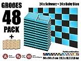 Super Dash 48 Stück Schwarz und Baby Blau 50 x 50 x 5 cm Akustische Schalldämmung Flach Bevel Schaum Studio Behandlung Wandfliesen SD1039