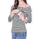 Hykis Frauen Schwangerschafts-Gestreiftes Nursing Stillen Hemd-Boot-Ausschnitt Top Bekleidung Red S [Wei? S]