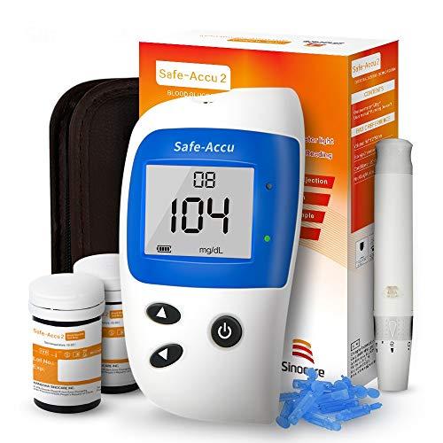 Blutzucker-test (Sinocare Blutzuckermessgerät Set/Codefree Blutzucker-Testkit Safe-Accu2 mit Blutzuckerteststreifen x 50 & schmerzfreie Lanzetten x 50 & Aufbewahrungsbox - mg/dL)